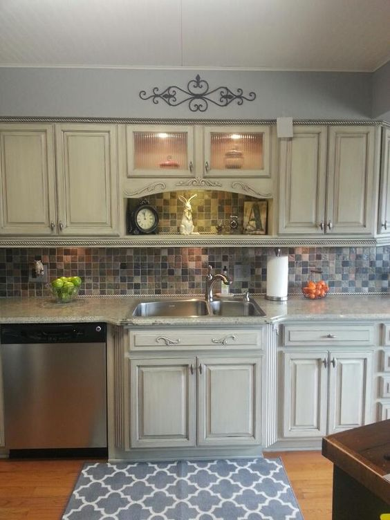 Cream cabinets with charcoal glaze for the home pinterest cabinets cream and cream cabinets - How to glaze kitchen cabinets cream ...