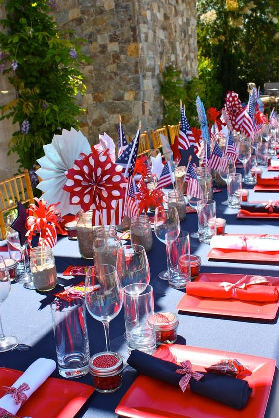 July 4th parties and table settings on pinterest for 4th of july party decoration