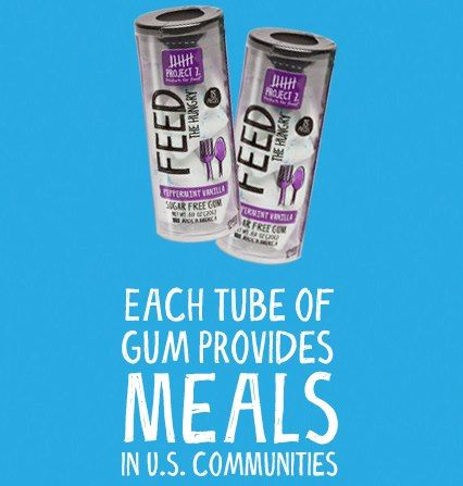 Each tube of Feed the Hungry gum provides meals back into the U.S. communities.