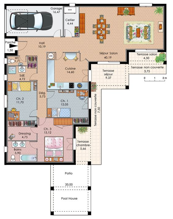 Super exemple plan maison plain pied | Maisons | Pinterest  EC98