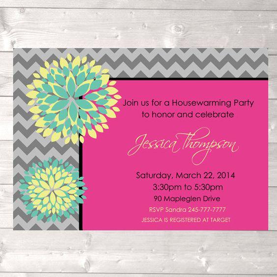 Modern housewarming party invitation chevron by designandplay, $15.00