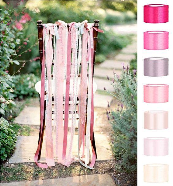 Décoration mariage : comment décorer les chaises ?, décoration, décoration mariage, mariage, rose, pink, ribbons, ribbon, ruban, chaise, chair