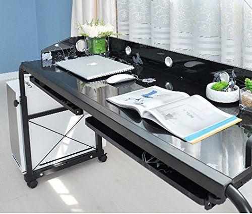Ahhc Table De Lit Pour Ordinateur Reglable En Hauteur Et Longueur Avec Roues Amazon Fr Cuisine Maison Table De Lit Bureau Mobilier De Salon