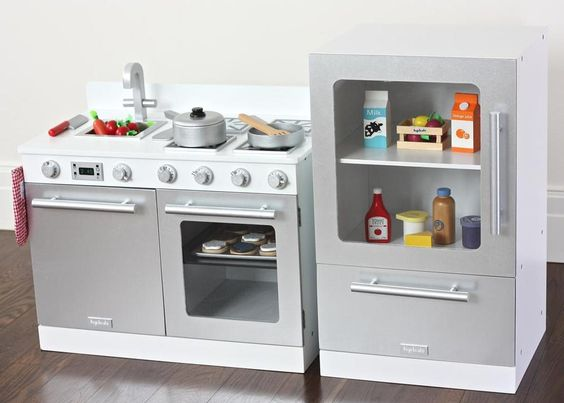 Kids gourmet toy kitchens childrens white play ovens for Play kitchen set