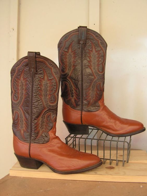 Tony Lama Cowboy Boots Size 7 1/2 7.5 D Western Boots Mens Brown Tan Two Tone Leather Country Western Boots