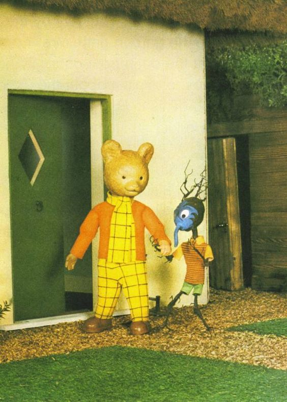 """Rupert the Bear and the twig boy Raggety. I kid you not, the """"Rupert the Bear"""" TV show used to scare me witless when I was little. #RupertTheBear #Raggety"""