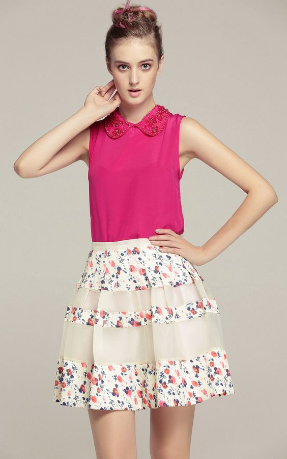 Beige Contrast Floral Pleated Flare Skirt