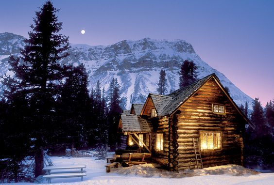 Winter Cabin At Night Some Of My Favs Pinterest