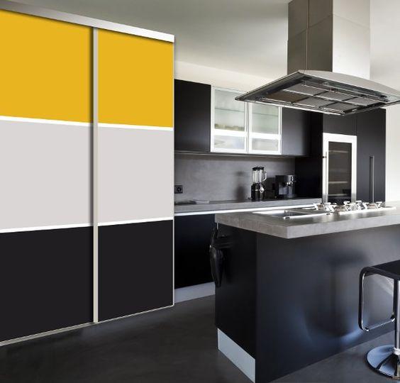 porte de placard coulissante collection harmonie jaune noir portes de placard. Black Bedroom Furniture Sets. Home Design Ideas