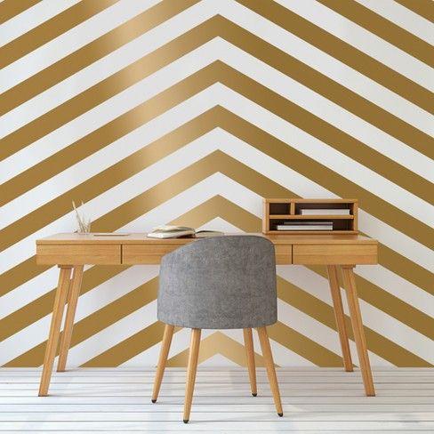 Devine Color 2pk Mini Stripe Peel Stick Wallpaper Gold White Peel And Stick Wallpaper Flat Paint Wallpaper