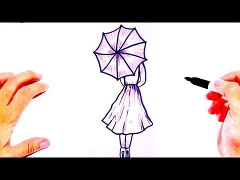 رسم بنات سهله وكيوت رسومات سهله وجميلة رسم فتاة ومظلة رسم سهل جدا Youtube Peace Gesture Peace