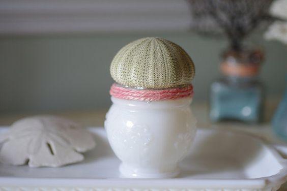 Beach Decor Vintage Milk Glass Cold Cream Jar with Green Sea Urchin  $30