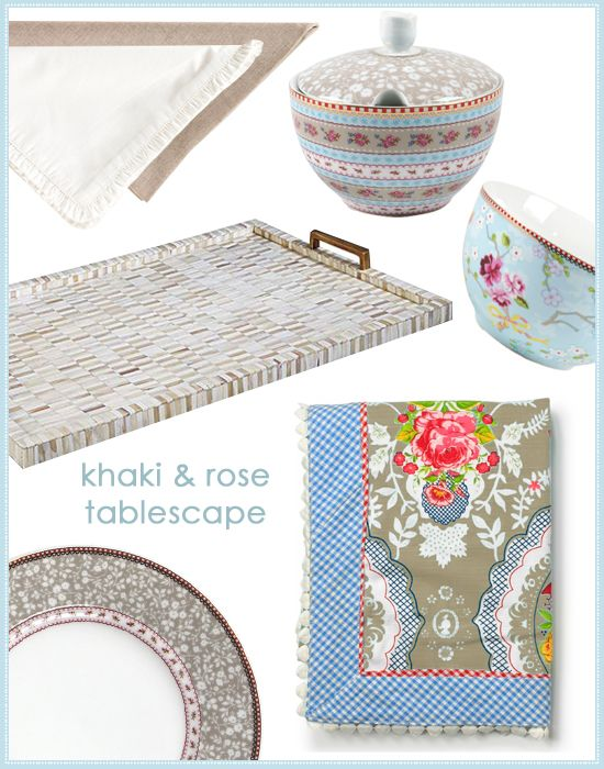 {Tabletop how-to!} Khaki and Rose tablescape, tablecloths, plates and bowls. #laylagrayce #entertaining #china #newsletter