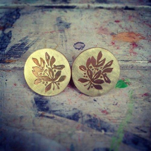 #floral #earstuds #komicjewelry #project1509 #brassmetal #fashion #jewelry #accessory