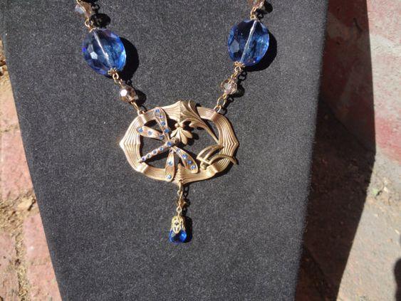 Vintage Art Nouveau Dragonfly NecklaceSky blue by RosebudsnPearls