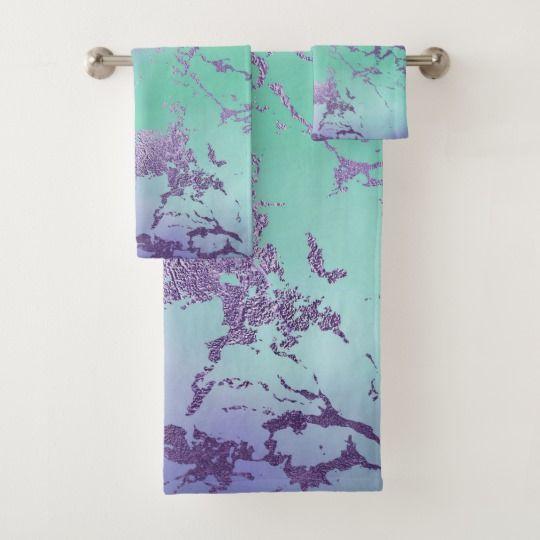 Chic Purple Blue Mermaid Watercolor Ombre Marble Bath Towel Set Zazzle Com In 2020 Blue Bath Towels Towel Set Bath Towel Sets