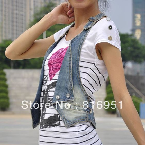 Short Sleeveless Denim Jacket zT8i2j