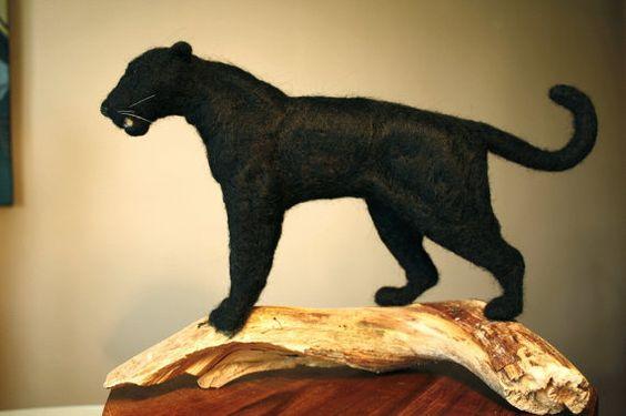 Needle felting leopard black leopard Black by MinzooNeedleFelting
