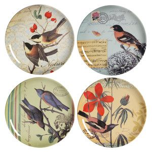 Assorted Bird Plates Set of 4, now featured on Fab.