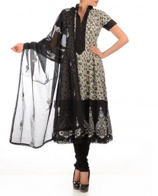 #Exclusivelyin, #IndianEthnicWear, #IndianWear, #Fashion, Grey & White Anarkali Suit with Lace