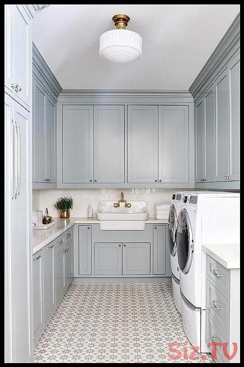 Gray U Shaped Laundry Room Is Clad In Cement Tile Shop Atlas Tiles