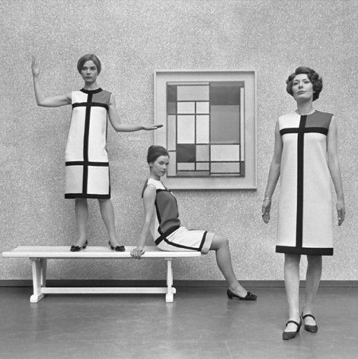 Olha só um editorial com o quadro de Piet Mondrian e o vestido criado por Yves Saint Laurent! Clica na galeria pra ver quem mais se inspirou…