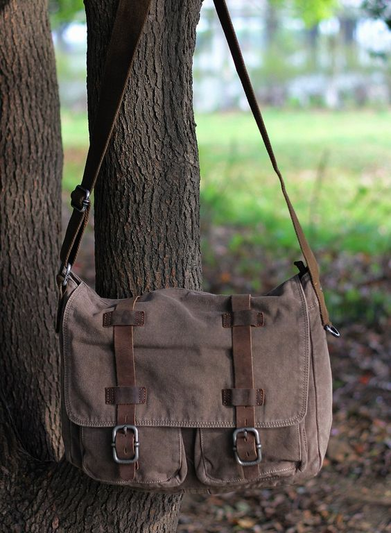 Mens retro GRAY canvas leather messenger bag / Larger canvas leather satchel sc - Backpacks, Bags & Briefcases