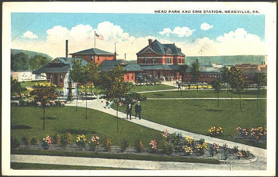 Meadville Pennsylvania 1917 Mead Park Erie Railroad Depot