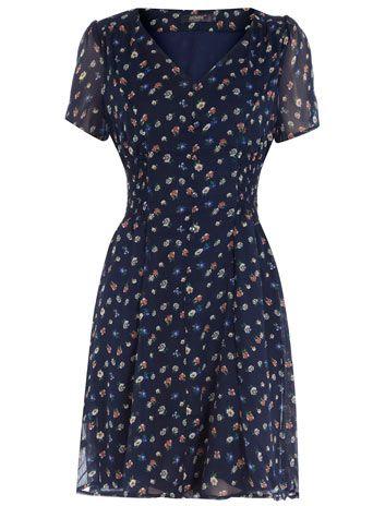 Navy flower print dress - want