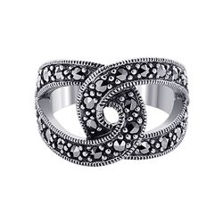 Sterling Silver Symmetrical 2mm Marcasite Stones 2.5mm Wide Band Ring