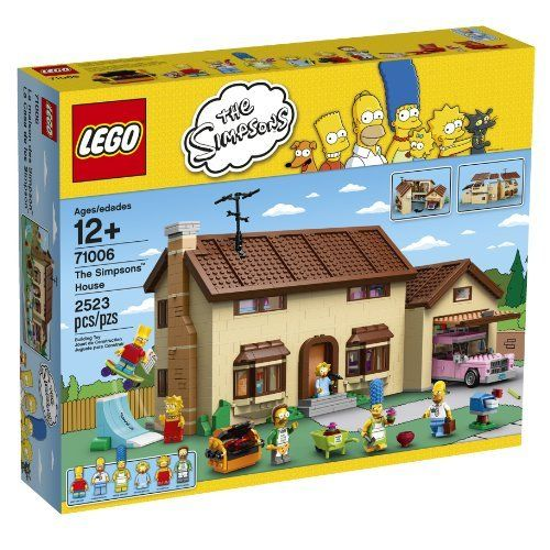 """LEGO Simpsons 71006 The Simpsons House (673419207669) The perfect set for fans of LEGO brick building and The Simpsons! Includes 6 minifigures: Homer, Marge, Bart, Lisa, Maggie and Ned Flanders Remove the roof and top floor to access the different rooms inside House is hinged in the middle for easy access The Simpsons House measures over 9"""" (23cm) high, 16"""" (42cm) wide and 9"""" (24cm) deep"""