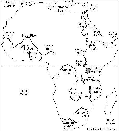 CC1, labeled outline map African Rivers | 7th Grade ...