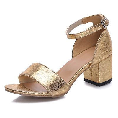 Womens Shiny Leather Glitter Ankle Strap Cuban Heel Sandal Gold ...