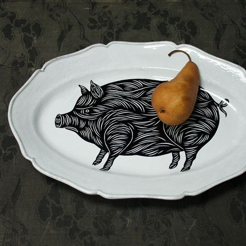 PATCH NYC - HOME DECOR - PATCH NYC LARGE PIG PLATTER {PLTPTC01}  for shelves in kitchen