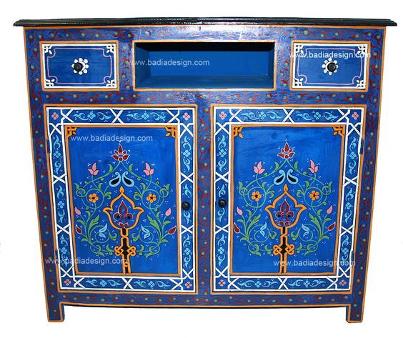 Moroccan cabinet it would look fantastic as a for Moroccan hand painted furniture