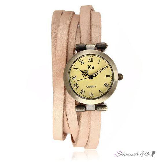 Wickel Leder Armbanduhr Echt Leder Pastell beige im...