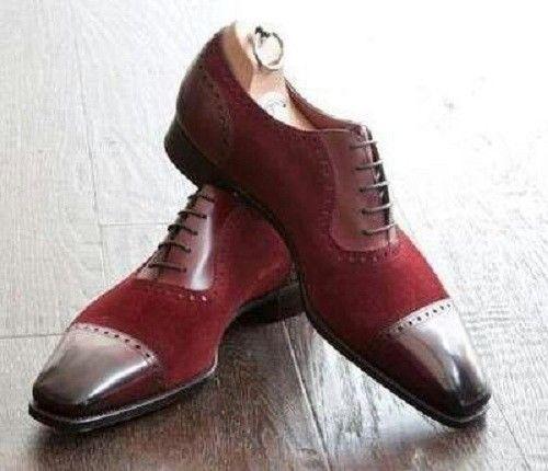 Handmade Men Two Toned Shoes Men Fashion Burgundy Dress Shoes Men Formal Shoes Dress Shoes Men Dress Shoes Formal Shoes For Men