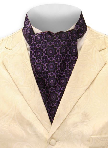 Medallion Ascot - Black/Purple [002903]  Peaches was staring at the purple cravat Danny was wearing, thinking of how she wanted to untie it and what she could do with it after she pulled it off.  A delicious shiver ran up and down her spine.  Hearts of Strangers by Jorja Lewis