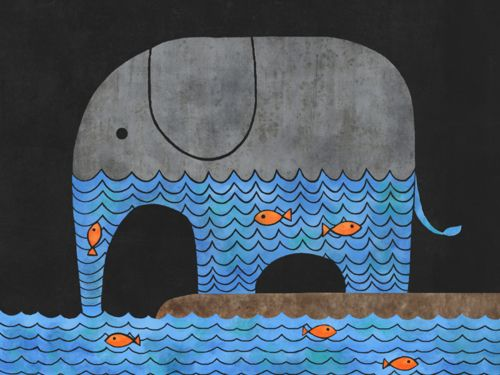 elefante: Stretched Canvas, Fan Thirsty, Elephant Art, Elephant Print, Thirsty Elephant, Elephant Fish, Elephant Stretched, Art Prints, Elephant Illustration