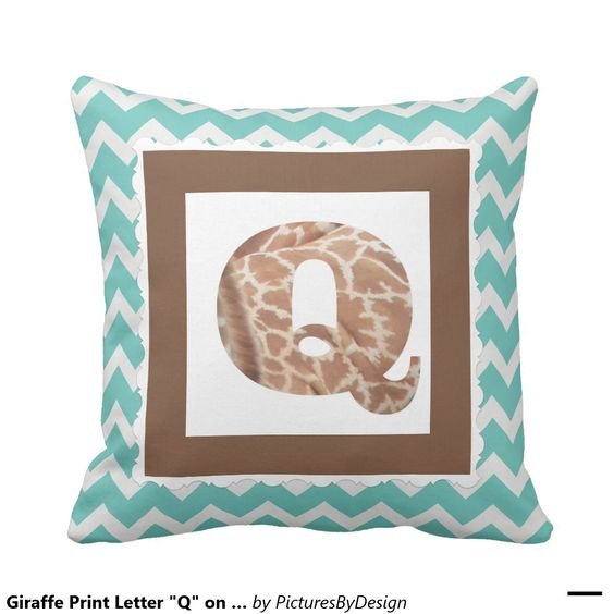 "Giraffe Print Letter ""Q"" on Mint/White Chevron Pillow"