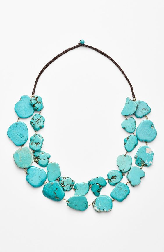 chunky turquoise statement necklace