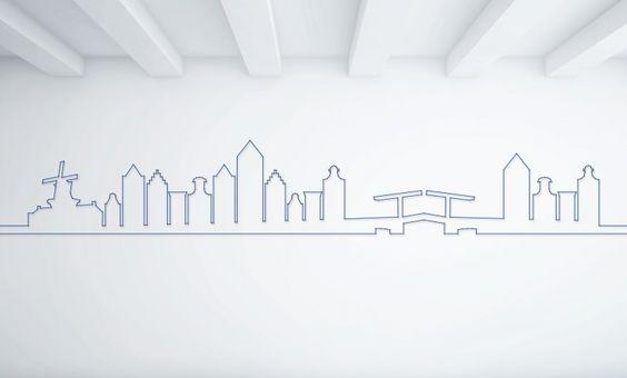 spijkerpatroon voor aan de muur. wanneer je een ontwerp koopt, krijg je het patroon thuis gestuurd. haal genoeg spijkers en garen in huis. de spijkers tik je op de zwarte puntjes in het patroon op de muur, en het garen draai je van spijker naar spijker. http://roomed.nl/spijkerpatronen-voor-aan-de-muur/