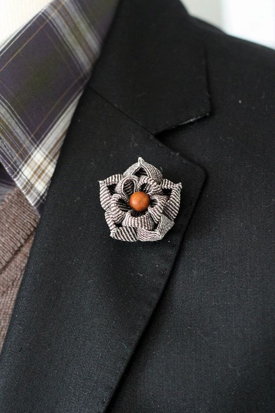 Autum brown flower lapel pin Mens lapel flower by Nevestica