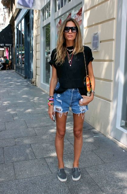 Casual style in cut-offs and Vans slip-ons