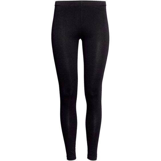 H&M Jersey leggings (33 BRL) ❤ liked on Polyvore featuring pants, leggings, bottoms, black, h&m, black elastic waist pants, black leggings, jersey knit pants, black jersey pants and black trousers