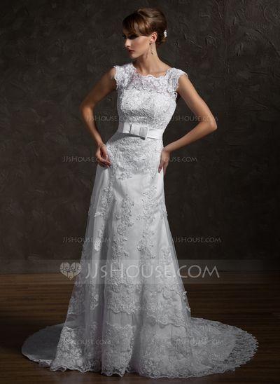 Wedding Dresses - $236.99 - A-Line/Princess Square Neckline Chapel Train Satin Tulle Wedding Dress With Lace Bow(s) (002000631) http://jjshouse.com/A-Line-Princess-Square-Neckline-Chapel-Train-Satin-Tulle-Wedding-Dress-With-Lace-Bow-S-002000631-g631?snsref=pt&utm_content=pt&shref=0019bc52a6706427c6701a3abd3ea43a