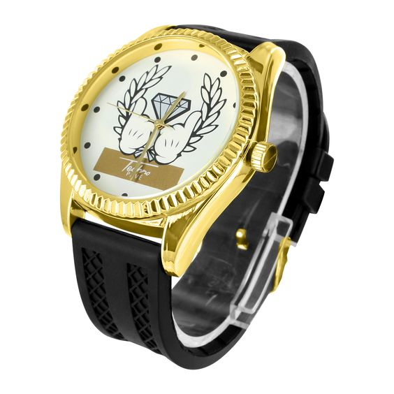 Black Rubber Band Gold Tone White Dial Techno Pave Watch