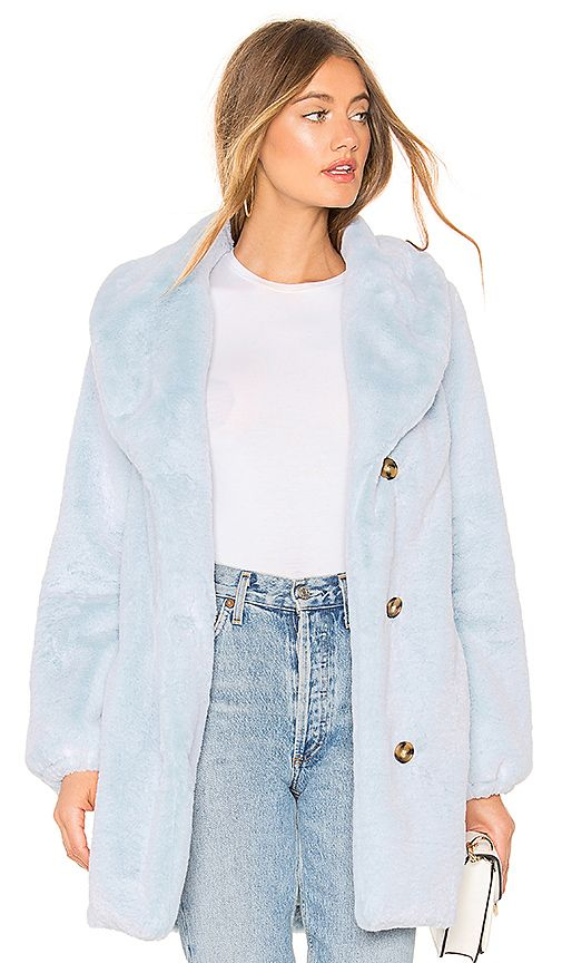 Majorelle Brinley Coat In Baby Blue Revolve Womens Fashion Jackets Fashion Clothes Women Faux Fur Coat