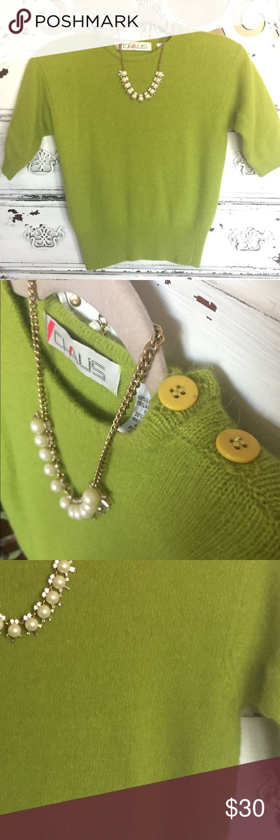 Glorious vintage green sweater Cropped to perfection. Pair this with some funky earrings and you're good to go girl! Shoulder pads could be removed. Fits like a medium. Vintage Sweaters Crew & Scoop Necks