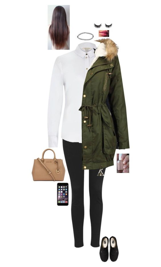 """""""School"""" by jesshorne2014 ❤ liked on Polyvore featuring Topshop, River Island, Acne Studios, Vans, Michael Kors, Boohoo and Essie"""
